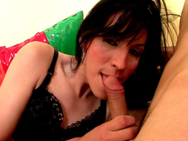 Licking and sucking cock by brunette shemale goddess