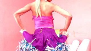 Enjoy this sweet blonde tranny dancing in front of camera