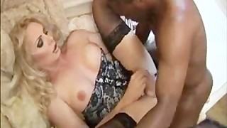 Tall blonde transgirl banged by black dude